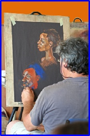 One of the hundreds of enthusiastic artists who journey to our Figurative Workshops in Wiltshire