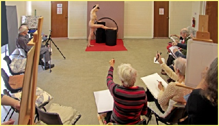 Rosemarie with a typical dynamic and challnging pose for the Hanley Swan Art Group during their introduction to Life Drawing