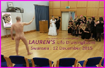 Lauren being presented with her Life Drawing Model at her Hen Night in Swansea